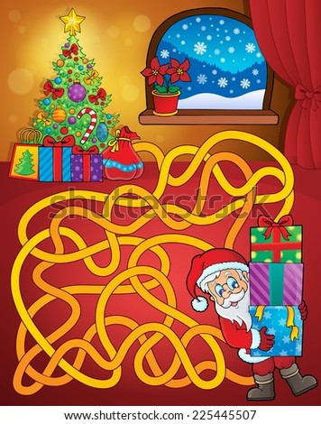 Maze 21 with Christmas theme - eps10 vector illustration. - stock vector