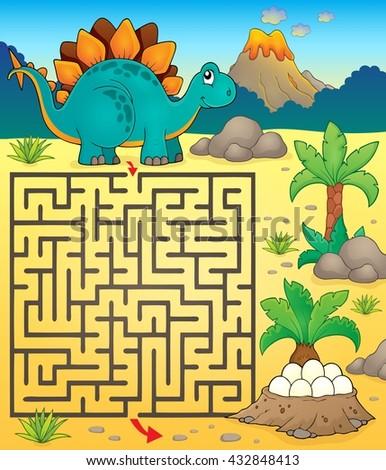 Maze 3 with dinosaur theme 1 - eps10 vector illustration. - stock vector