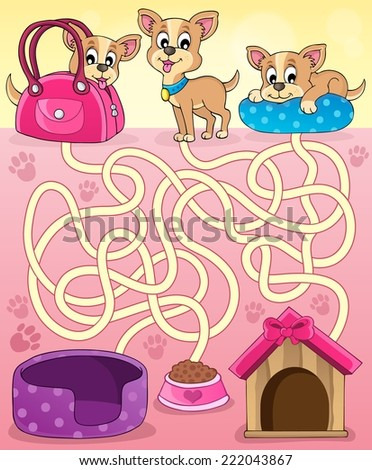 Maze 13 with dogs - eps10 vector illustration. - stock vector