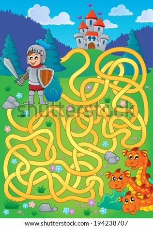 Maze 1 with knight and dragon theme - eps10 vector illustration. - stock vector
