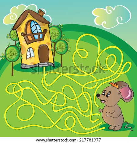 Maze with mouse and cheese  house - funny vector illustration - stock vector