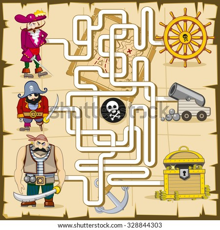 Maze with pirates. Vector game for kids. Play find treasure, map and quiz, search cannon, riddle logic illustration - stock vector