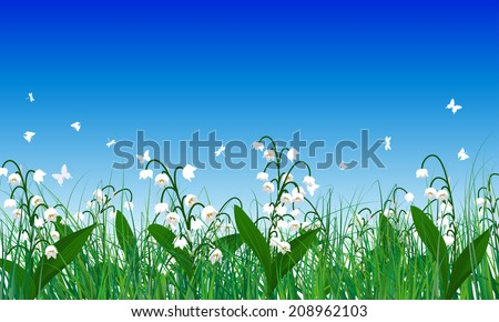 Meadow color background with butterflies. All objects are separated. Vector illustration. Eps 10 without transparency. - stock vector