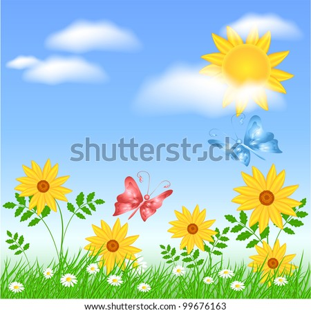 Meadow flowers, sun, clouds and butterflies - stock vector