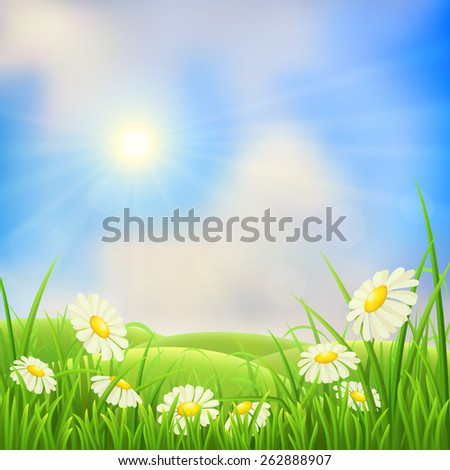 Meadow landscape with green grass, flowers, hills and sun  - stock vector