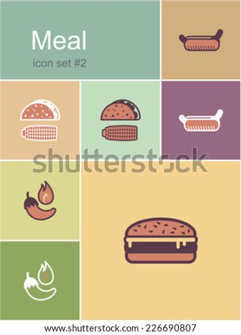 Meal menu food and drink icons. Set of editable vector color illustrations in Metro style. - stock vector
