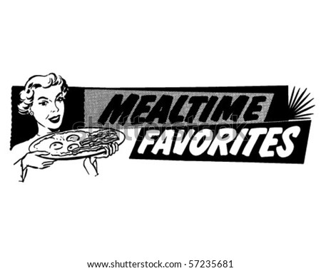 Mealtime Favorites - Breakfast Banner - Retro Clip Art - stock vector