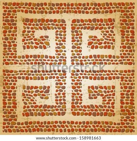 Meander seamless ornament, stone tile pattern, Greek Key Background Pattern - stock vector