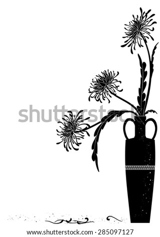meander  vase with golden-daisy in black and white colors - stock vector
