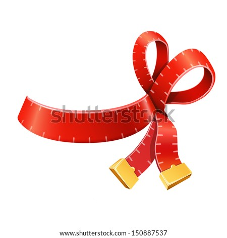 Measure tape ribbon bow - stock vector