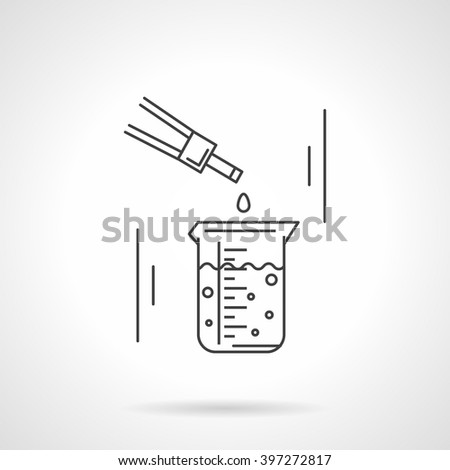 Measurement flask with liquid and dropper. Laboratory research and tests. Science and education. Chemistry, biology, medicine. Vector icon flat line. Element for web design, business, mobile app.  - stock vector