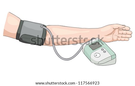 Measurement of blood pressure. Vector illustration. - stock vector