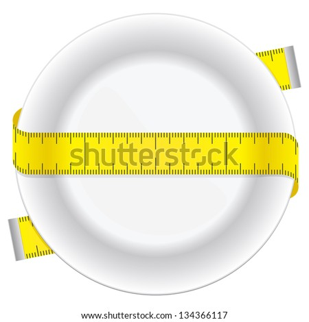 Measuring tape and plate as a conceptual diet icon. - stock vector