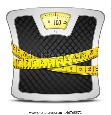 Measuring tape wrapped around bathroom scales. Concept of weight loss, diet, healthy lifestyle. Vector illustration EPS10. - stock vector