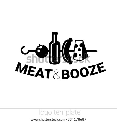 Meat and booze original logo design template for beer house, bar, pub, brewing company, brewery, tavern, taproom, alehouse, dram shop, restaurant, skewer - stock vector
