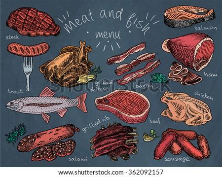 Ribs stock illustrations cartoons shutterstock for Fish 101 menu