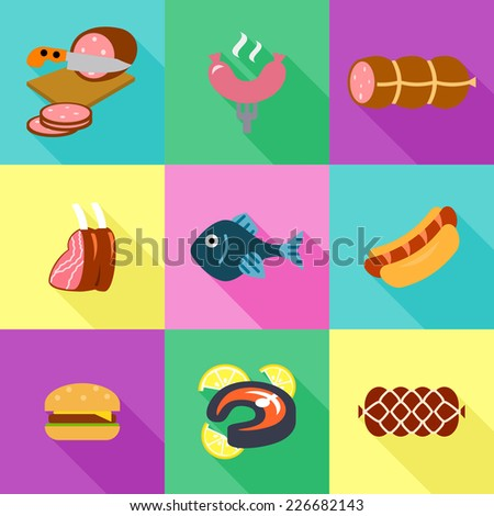 Meat and sausage vector icons set - stock vector