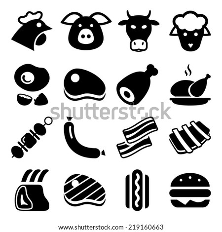 meat black icon set isolated, for restaurant and commerce - stock vector