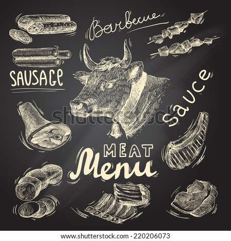 Meat food decorative icons set of barbecue menu chalkboard isolated vector illustration - stock vector