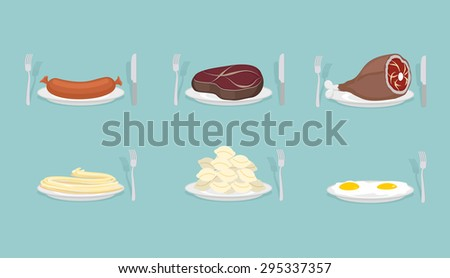 Meat food: Sausage and dumplings. Ham and steak. Scrambled eggs and pasta.  Food on  plate. Cutlery: knife and fork. Food for dinner, breakfast and lunch. Vector illustration. - stock vector