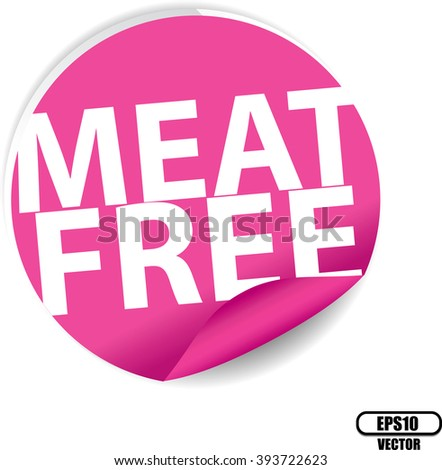 Meat free pink Label, Sign, stickers and symbol -Vector Illustration - stock vector