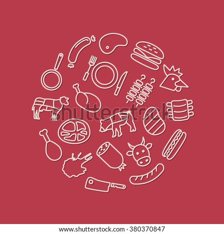 meat icons in circle - stock vector
