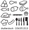 meat icons set, chef hat, knife, fork, spoon and meat cleaver icon (bacon, salami, skewers, shell, fish, sausage, steak, pork leg, ham, meat icons symbols) - stock vector