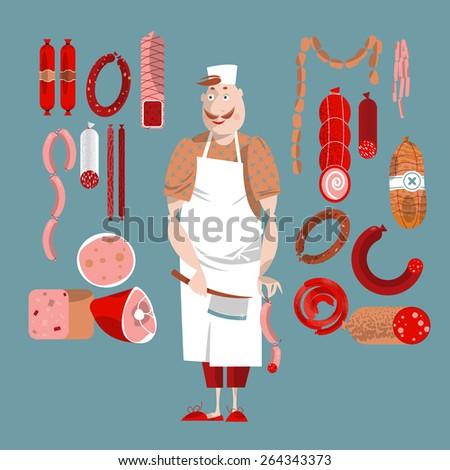 Meat market. Delicatessen. Butcher. Vector illustration - stock vector