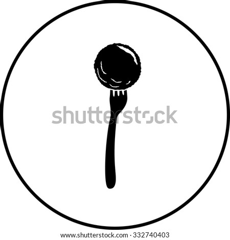 meatball in fork symbol - stock vector