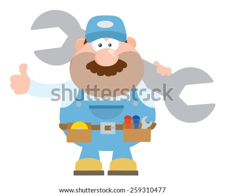 Mechanic Cartoon Character Holding Huge Wrench And Giving A Thumb Up Flat Style. Vector Illustration Isolated On White - stock vector
