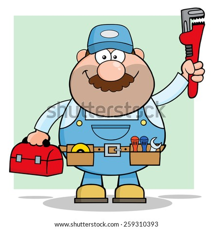 Mechanic Cartoon Character With Wrench And Tool Box. Vector Illustration With Background - stock vector