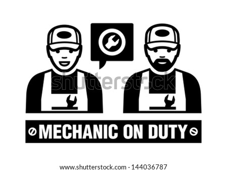 Mechanic icon. Mechanic on duty. - stock vector