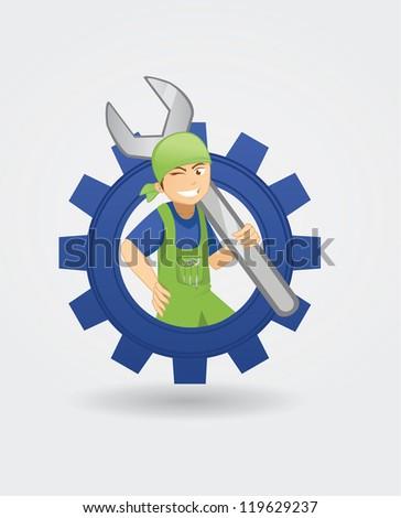 mechanic in the blue cog - stock vector
