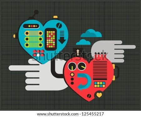 Mechanic love. Vector illustration of hearts. - stock vector