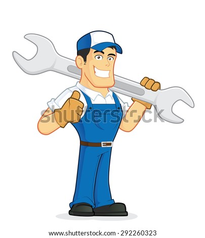 Mechanic or plumber holding a huge wrench - stock vector