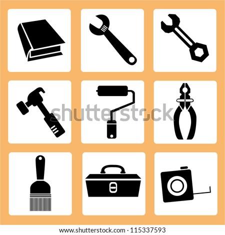 mechanic tools, instruments - stock vector