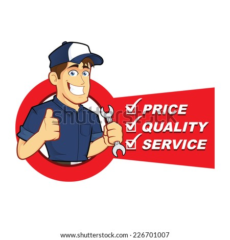 Mechanic with Service List - stock vector