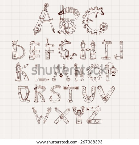 Mechanical alphabet cogwheel abc letters set isolated on square paper background vector illustration - stock vector