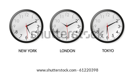 Mechanical clocks displaying time in three big cities (vector) - stock vector
