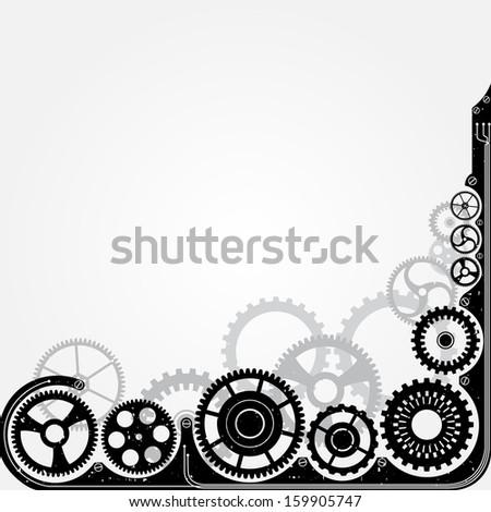 Mechanical cog wheel frame. Abstract vector illustration. - stock vector