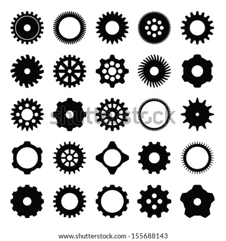 Mechanical Cogs and Gear Wheel Set as Vector Set - stock vector
