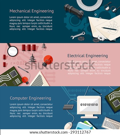 Mechanical, electrical, and computer engineering education infographic banner template layout background website page design, create by vector - stock vector