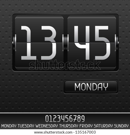 Mechanical flip clock with date. - stock vector