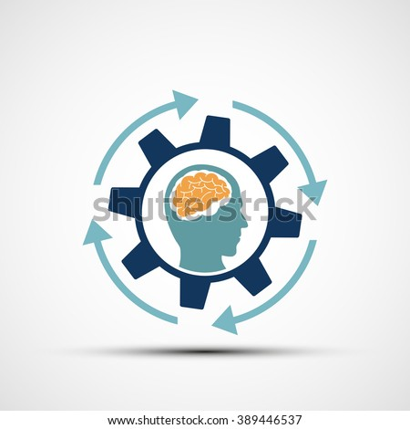 Mechanical gear with a human head. Creative design. Stock vector illustration. - stock vector