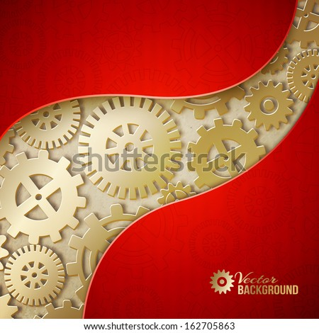 Mechanical gears background. Vector illustration - stock vector