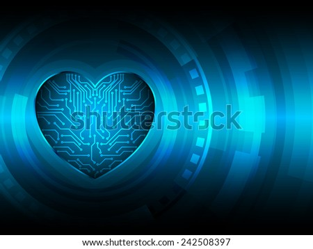 mechanical heart circuit abstract technology background - stock vector