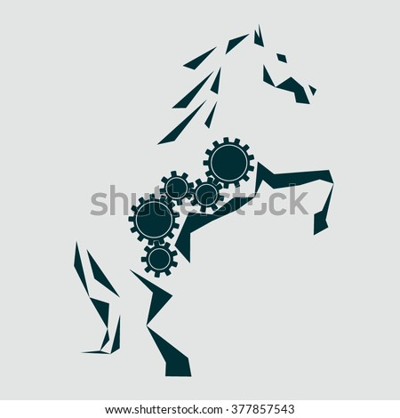 Mechanical horse. Five rotating gears inside the silhouette of the horse. A horse standing on its hind legs. Horsepower. Graphic silhouette of a horse drawn triangles. Clockwork mechanism. Vector Logo - stock vector