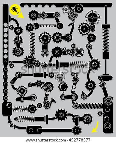 Mechanical maze. Intelligent task for children.  - stock vector