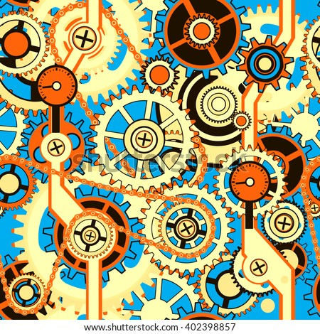 Mechanical seamless pattern with the gears of different colors. Abstract vector illustration. - stock vector