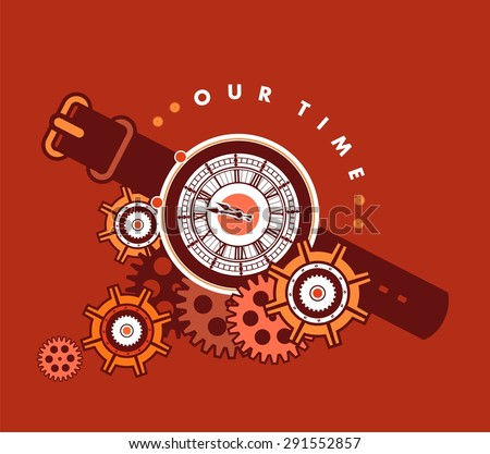 mechanical watch with a leather strap decorated with metal parts and gears in the style of steam punk - stock vector